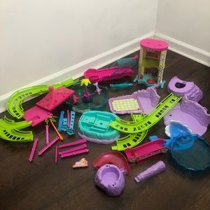 Polly Pocket Large Lot Dolphins Roller Coaster Mis